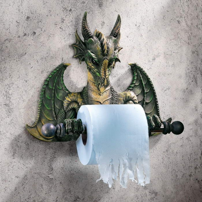 Medieval Bath Tissue Gargoyle Dragon Sculpture